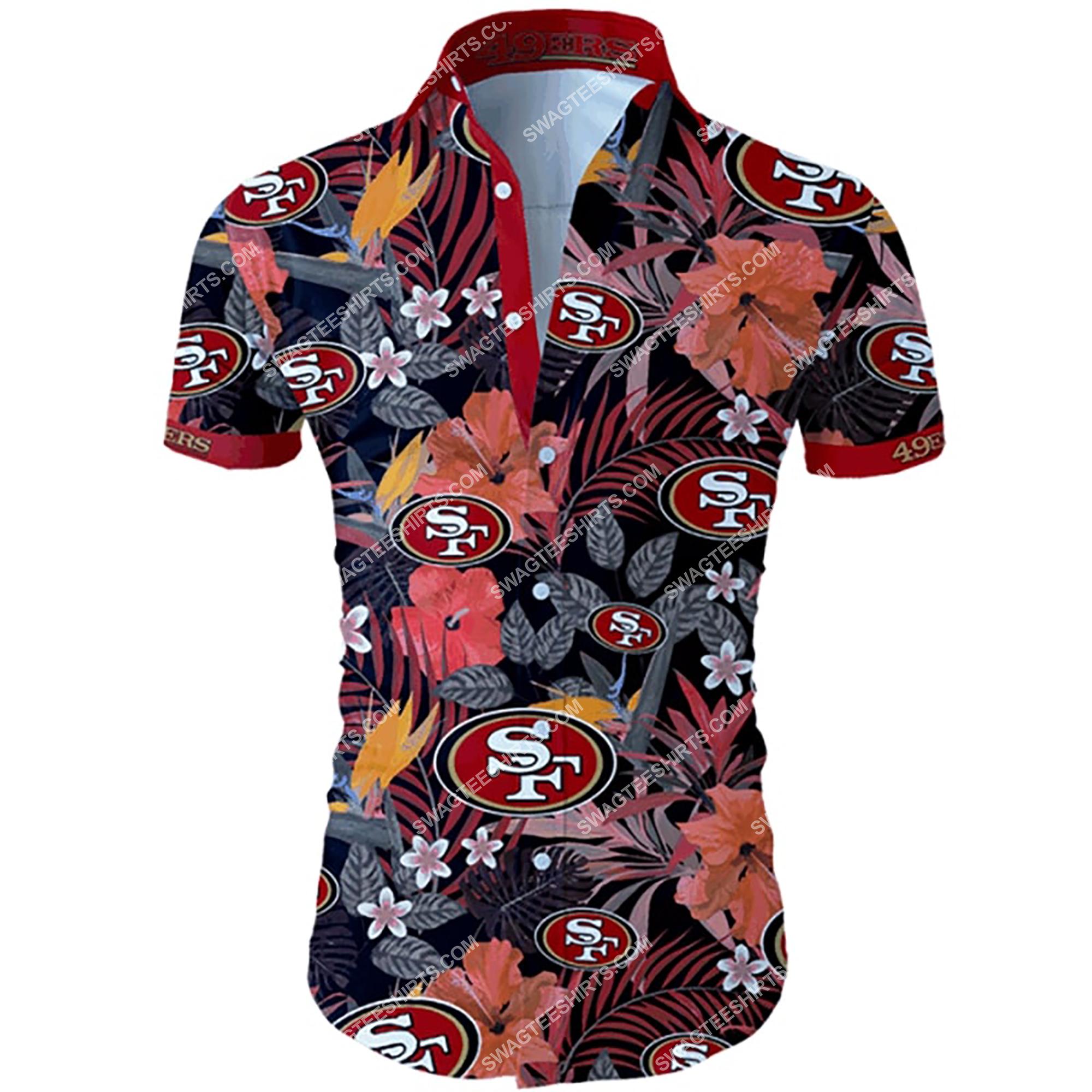 tropical flower san francisco 49ers team summer hawaiian shirt 2