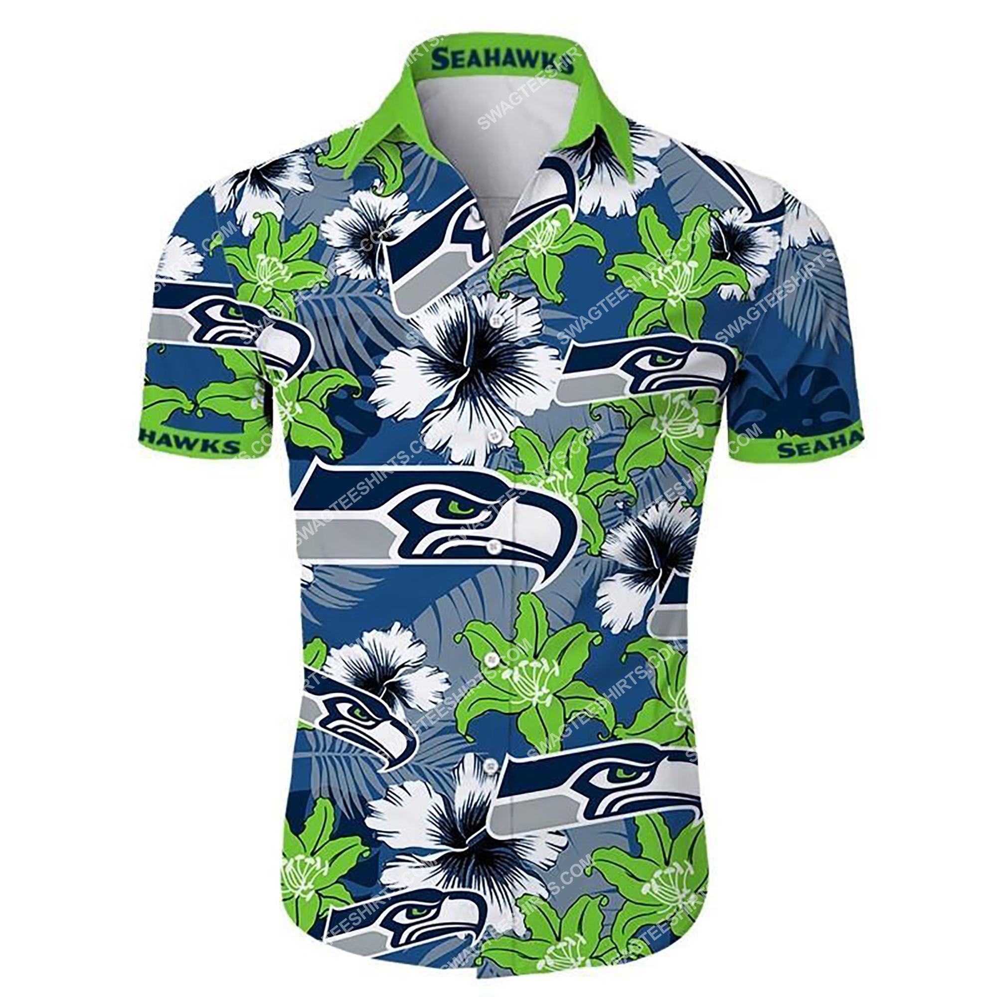 tropical flower seattle seahawks football summer hawaiian shirt 2 - Copy