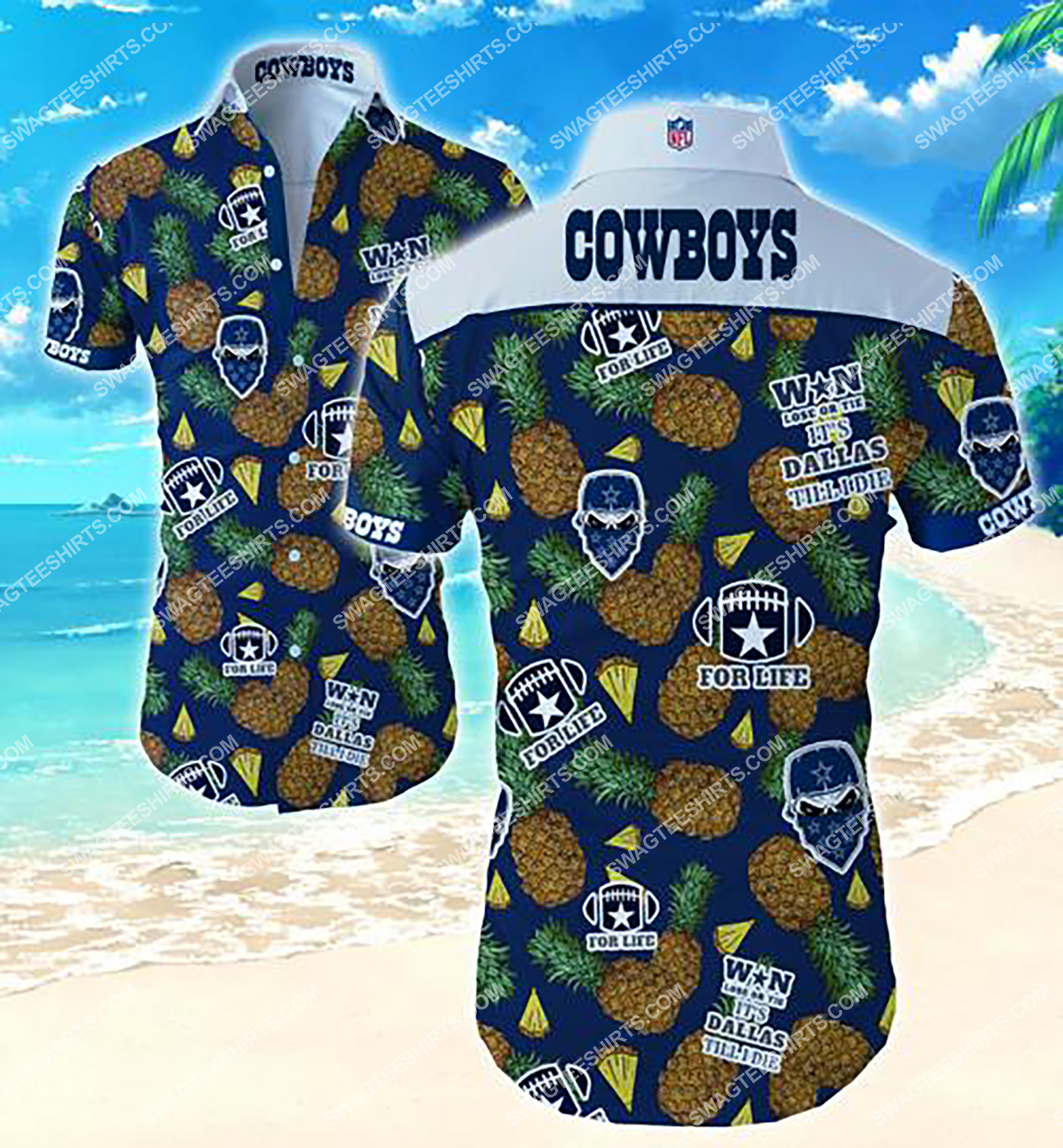 tropical pineapple and dallas cowboys team summer hawaiian shirt 2