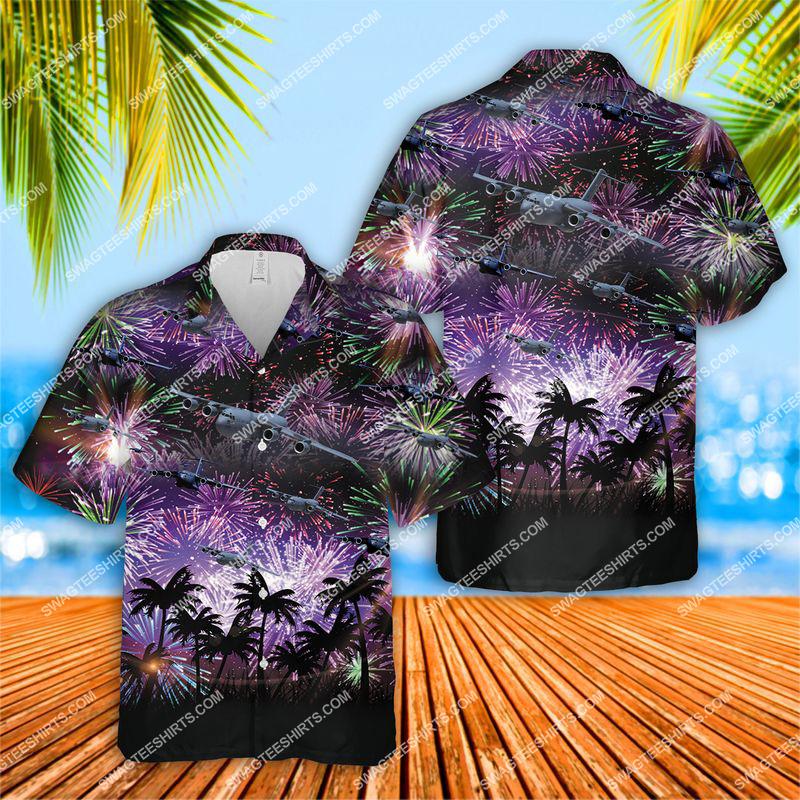 us air force boeing c-17 globemaster iii all over print hawaiian shirt 1