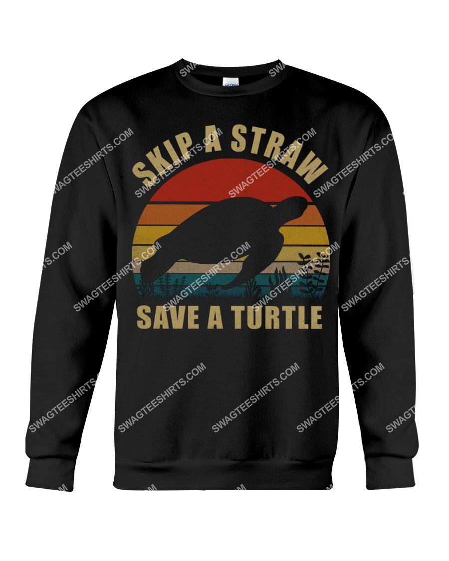 vintage skip a straw save a turtle save animals sweatshirt 1