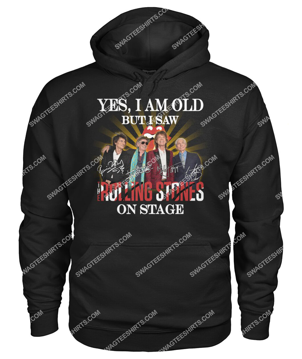 yes i am old but i saw the rolling stones on stage hoodie 1