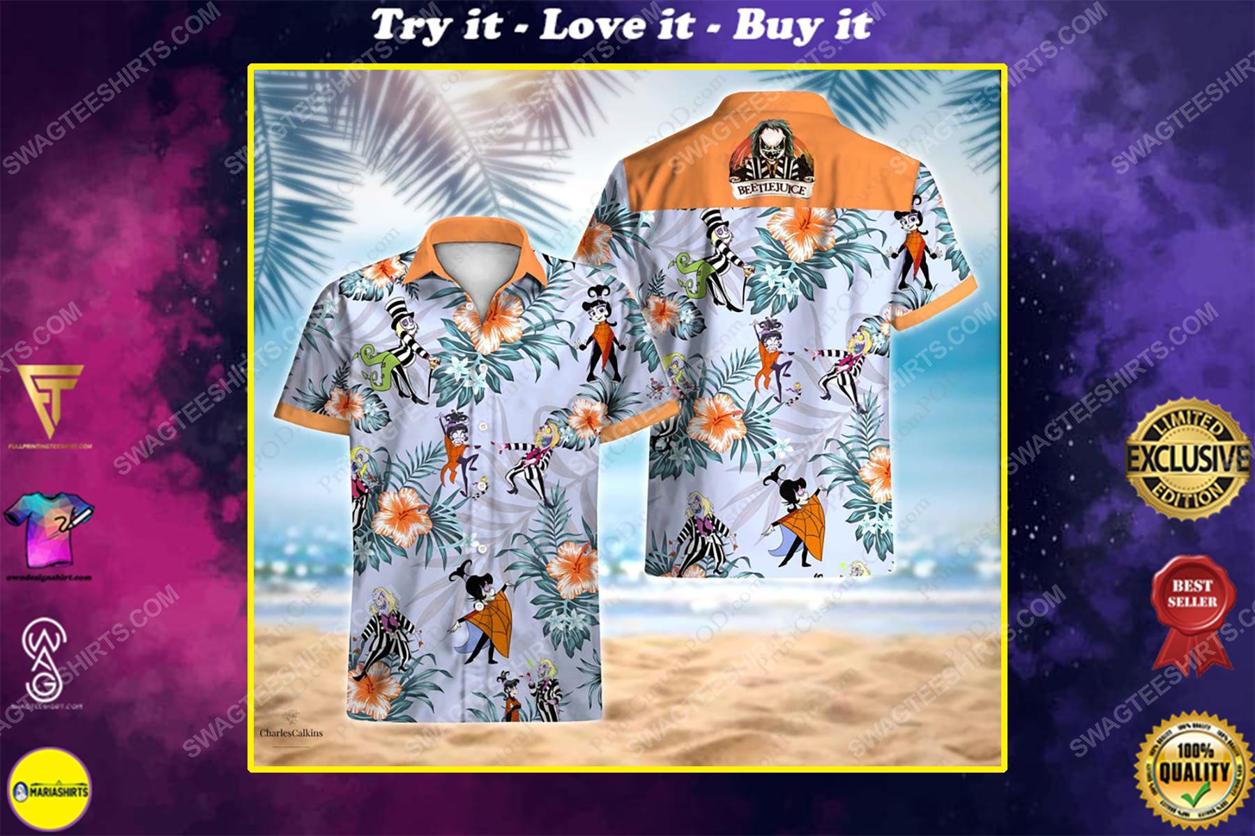 Beetlejuice lydia adventure cartoon movie summer vacation hawaiian shirt