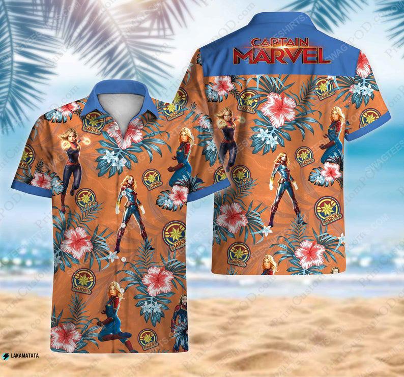 Floral captain america avengers disney marvel movie hawaiian shirt 1 - Copy