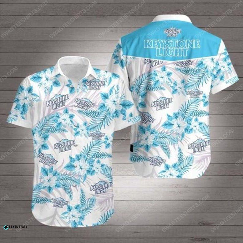 Floral keystone light beer summer vacation hawaiian shirt 1