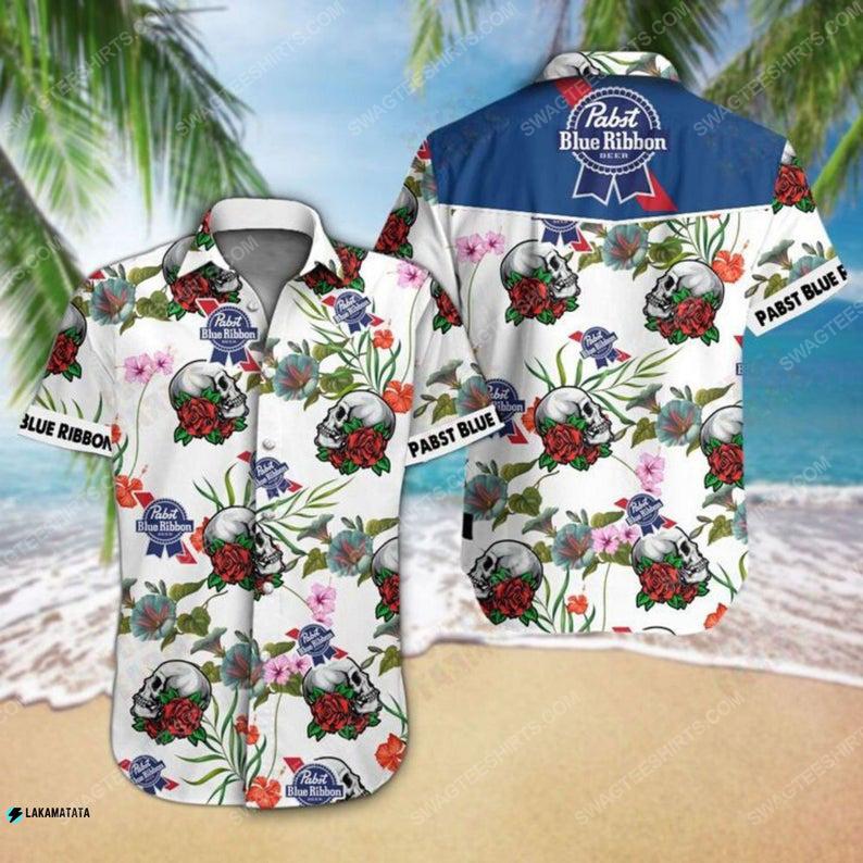 Floral pabst blue ribbon beer summer vacation hawaiian shirt 1