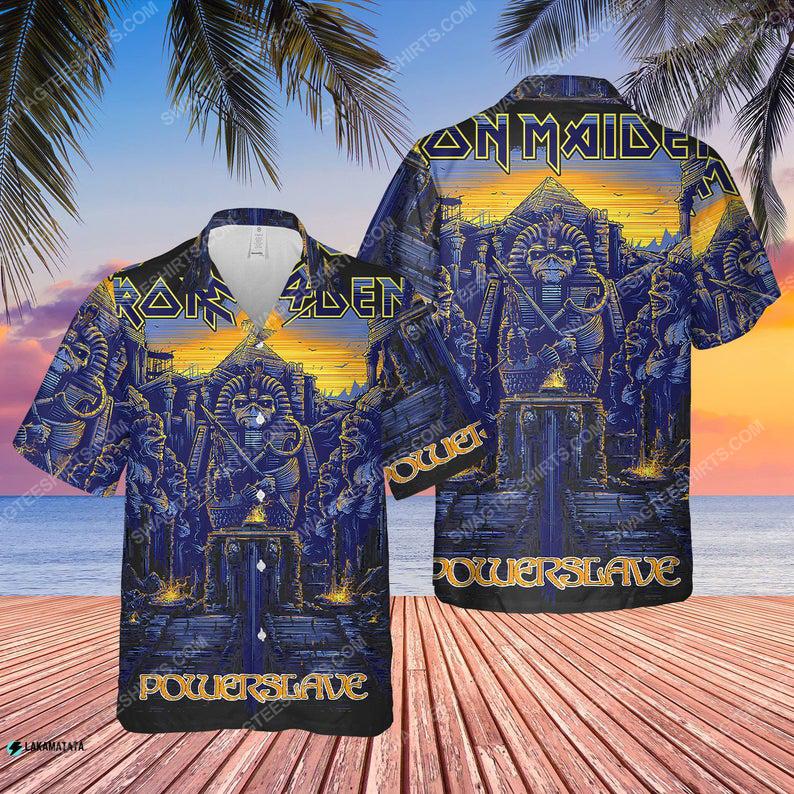 Iron maiden rock band music powerslave rework hawaiian shirt 1