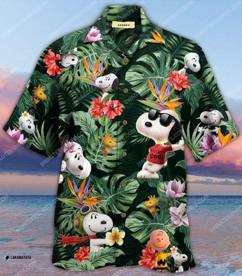 Snoopy and woodstock cartoon disney movie hawaiian shirt 1 - Copy