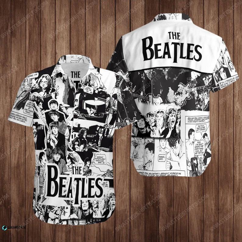 The beatles music band summer vacation hawaiian shirt 1