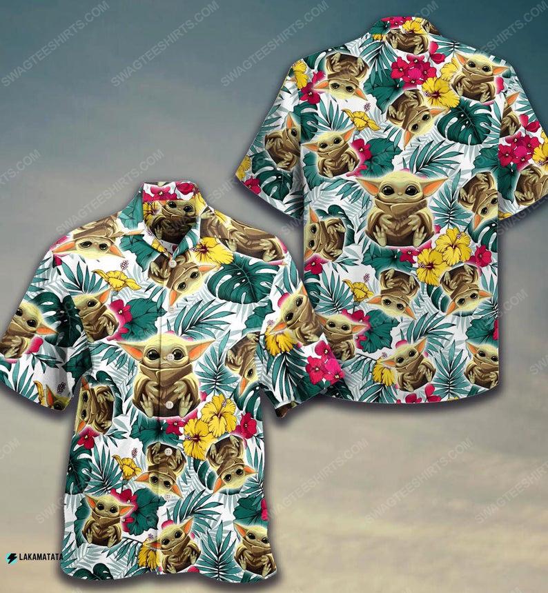Tropical baby yoda star wars movie hawaiian shirt 1