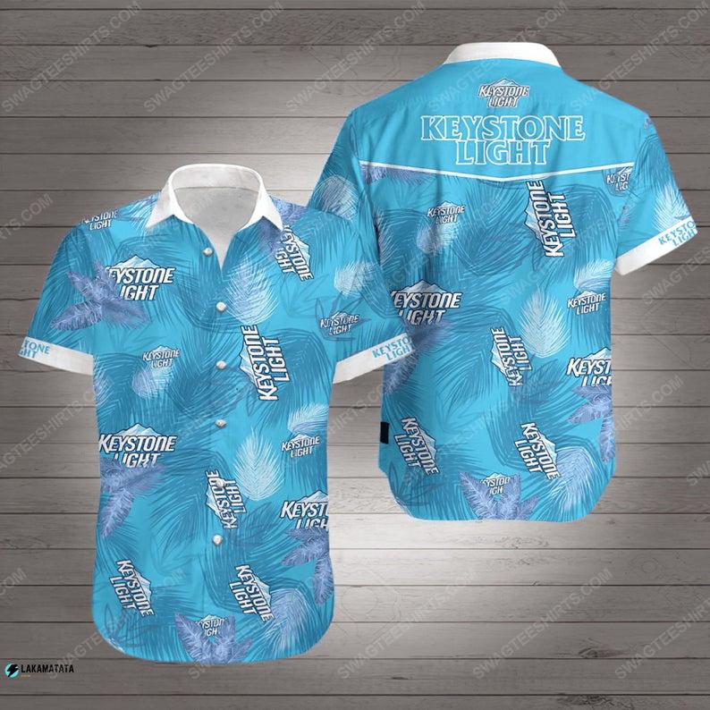 Tropical keystone light beer summer vibe hawaiian shirt 1