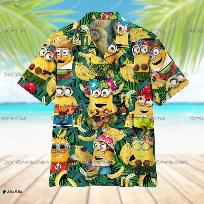 Tropical minions and banana summer vibe hawaiian shirt 1