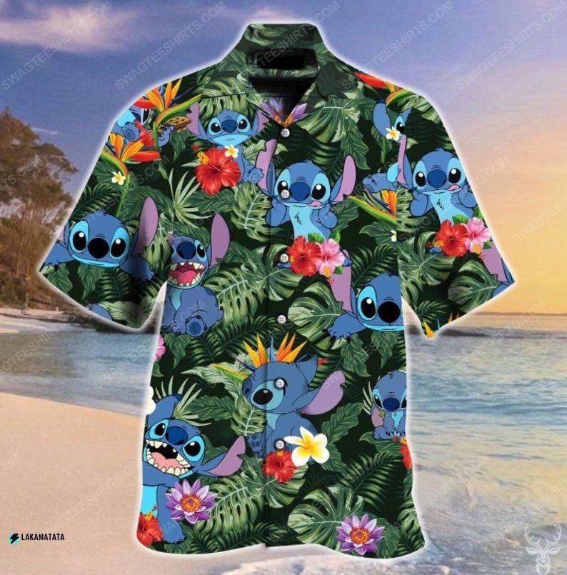 Tropical stitch cartoon movie disney hawaiian shirt 1 - Copy