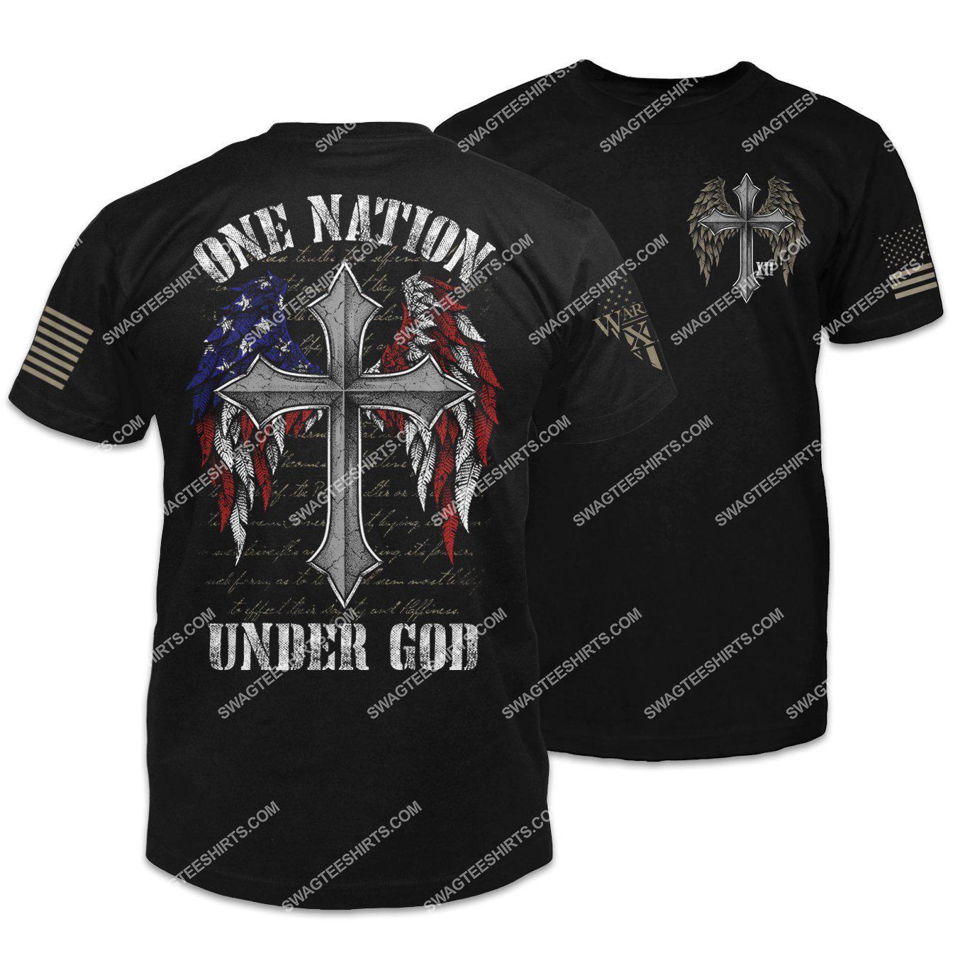 american flag cross one nation under God shirt 2(1)