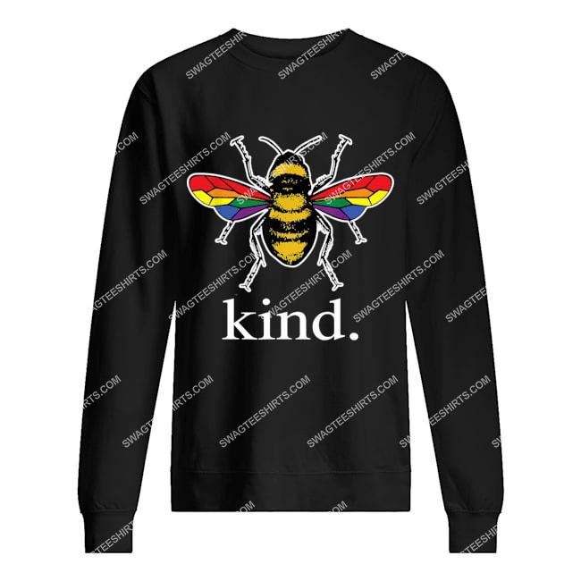 bee kind lgbtq ally gay pride rainbow bumblebee positivity sweatshirt 1