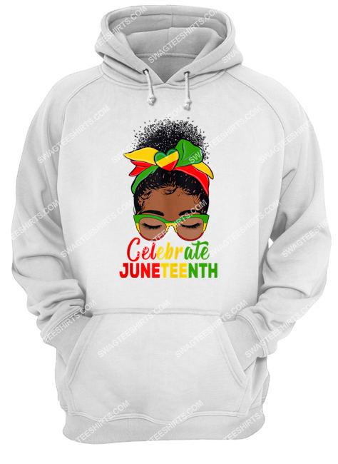 black women messy bun juneteenth celebrate indepedence day hoodie 1