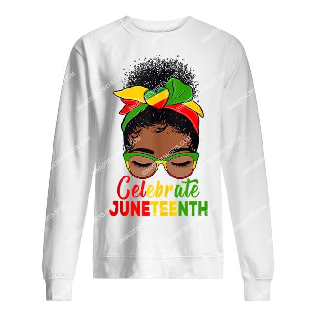 black women messy bun juneteenth celebrate indepedence day sweatshirt 1