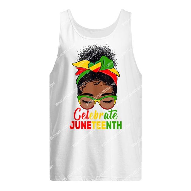 black women messy bun juneteenth celebrate indepedence day tank top 1