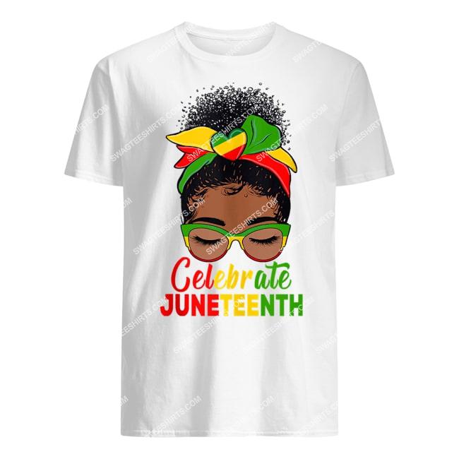 black women messy bun juneteenth celebrate indepedence day tshirt 1