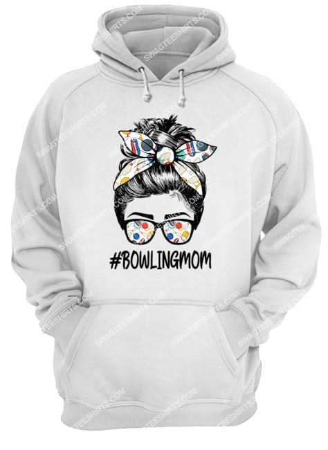 bowling mom life mothers day messy bun glasses bandana hoodie 1