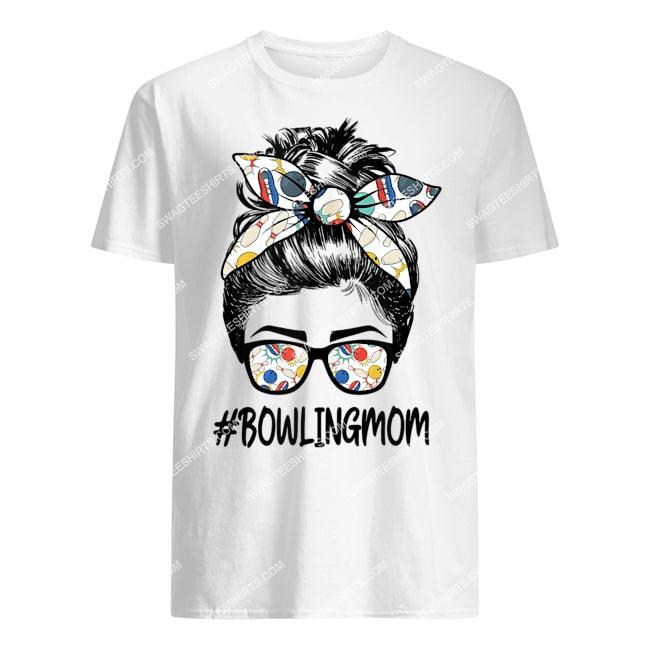 bowling mom life mothers day messy bun glasses bandana tshirt 1