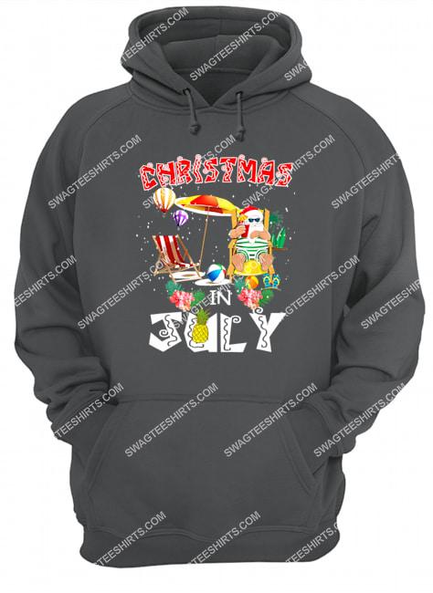 christmas in july funny santa hawaiian summer celebration hoodie 1