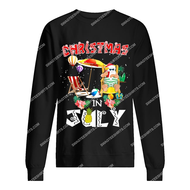 christmas in july funny santa hawaiian summer celebration sweatshirt 1