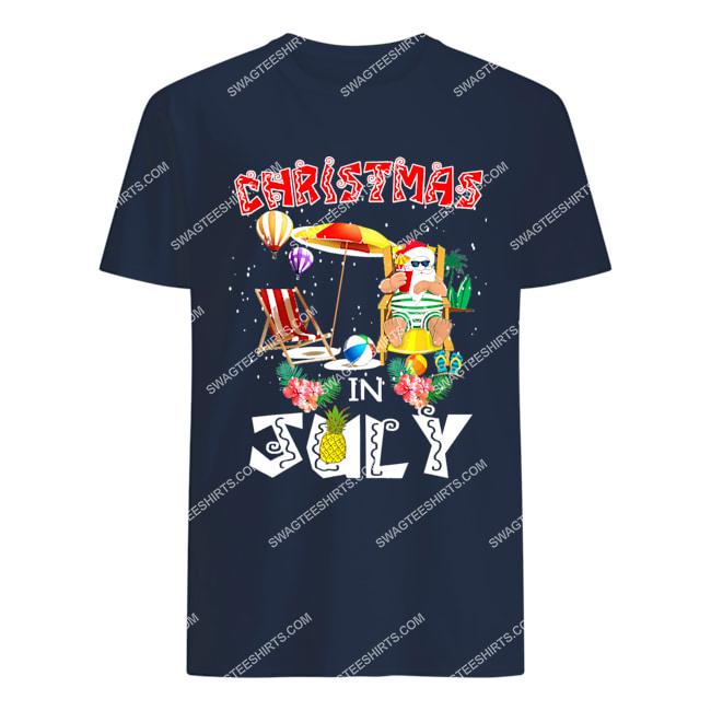 christmas in july funny santa hawaiian summer celebration tshirt 1