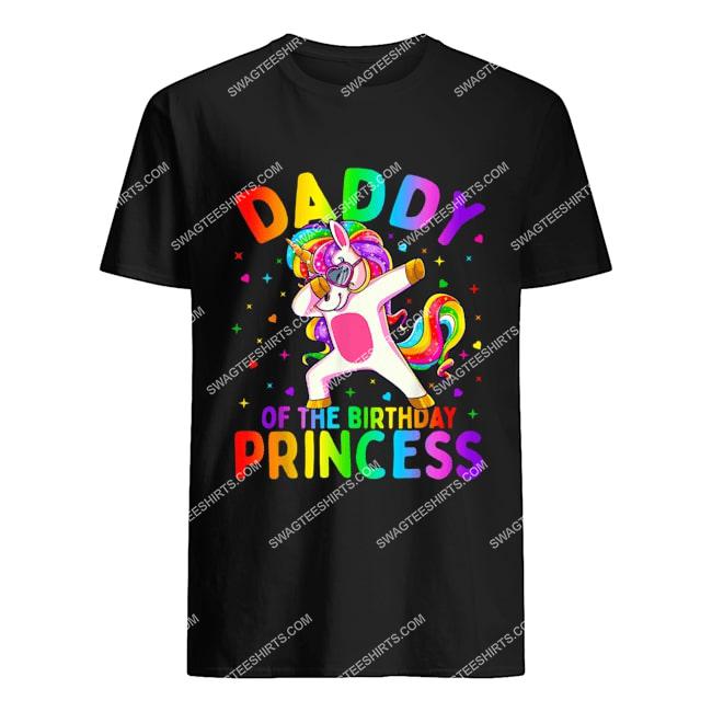 daddy of the birthday princess girl dabbing unicorn tshirt 1
