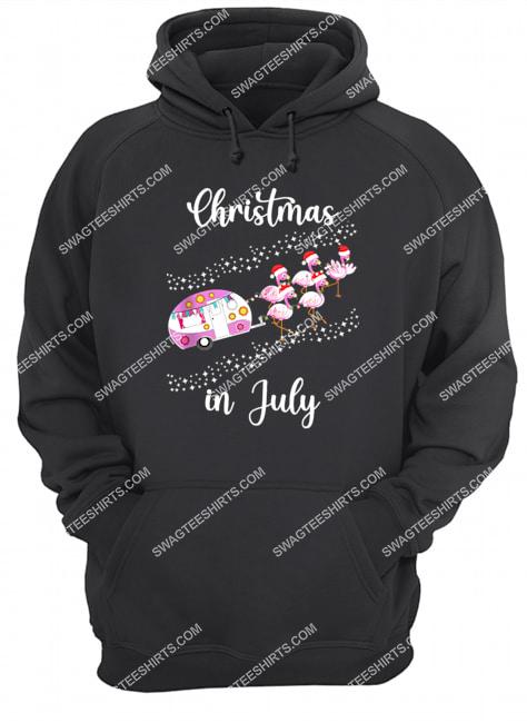 flamingo pink retro camping car christmas in july hoodie 1