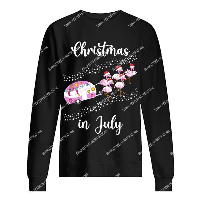 flamingo pink retro camping car christmas in july sweatshirt 1