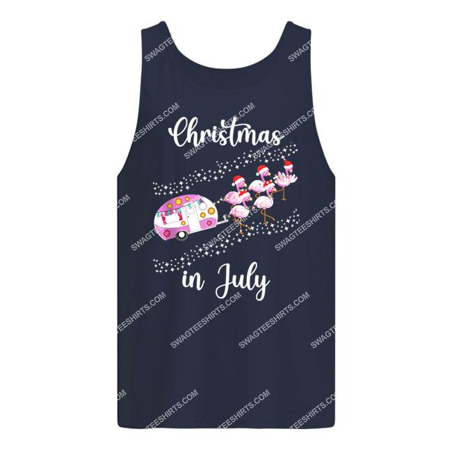 flamingo pink retro camping car christmas in july tank top 1