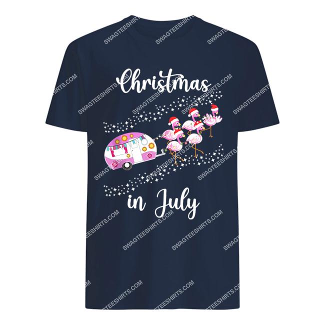 flamingo pink retro camping car christmas in july tshirt 1