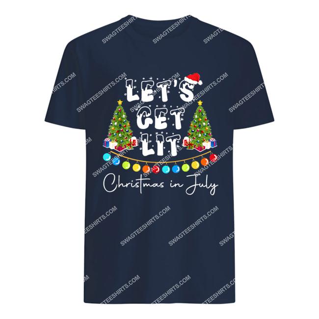 let's get lit christmas in july tshirt 1