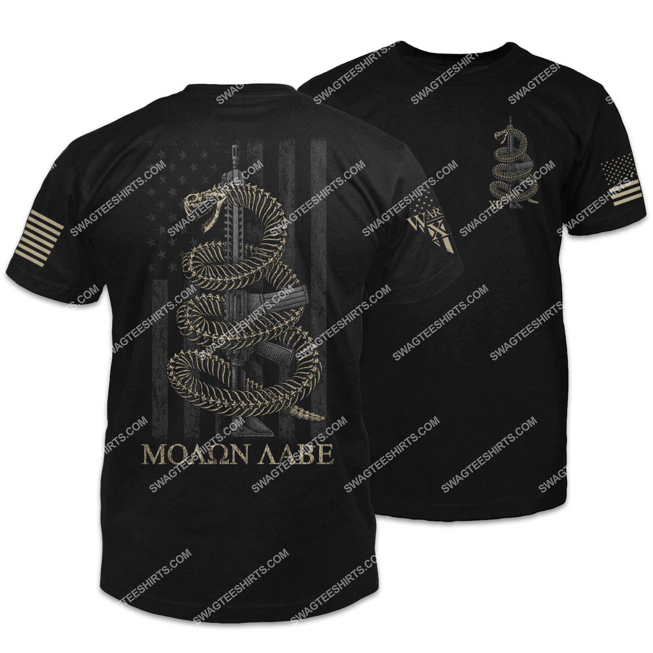 molon labe skeletal gadsden snake gadsden flag shirt 1 - Copy