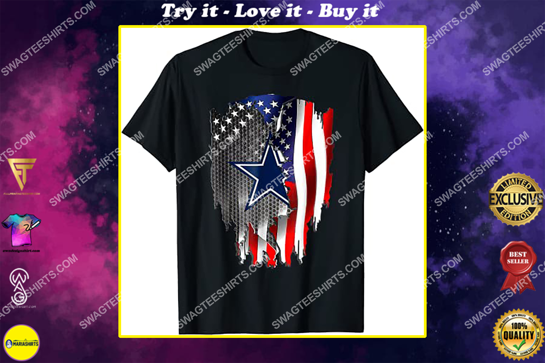 nfl dallas cowboys and american flag shirt