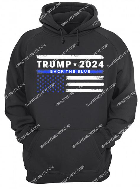 pro trump 2024 back the blue thin blue line american flag hoodie 1