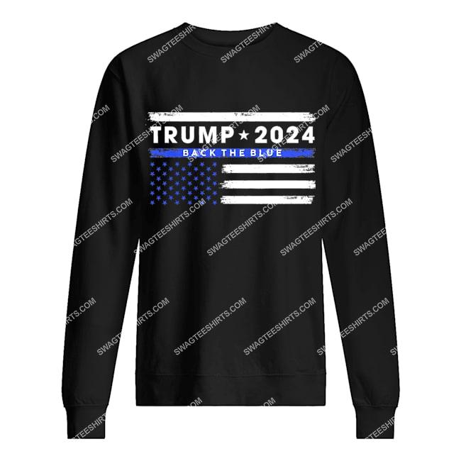 pro trump 2024 back the blue thin blue line american flag sweatshirt 1