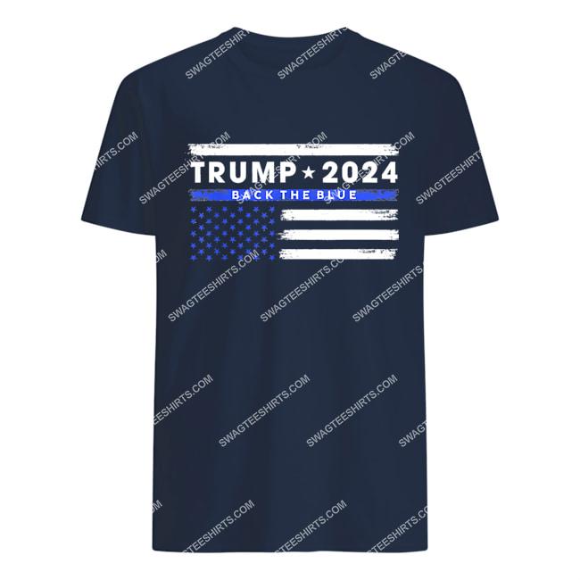 pro trump 2024 back the blue thin blue line american flag tshirt 1