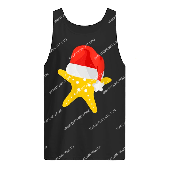 starfish with santa hat christmas in july tank top 1