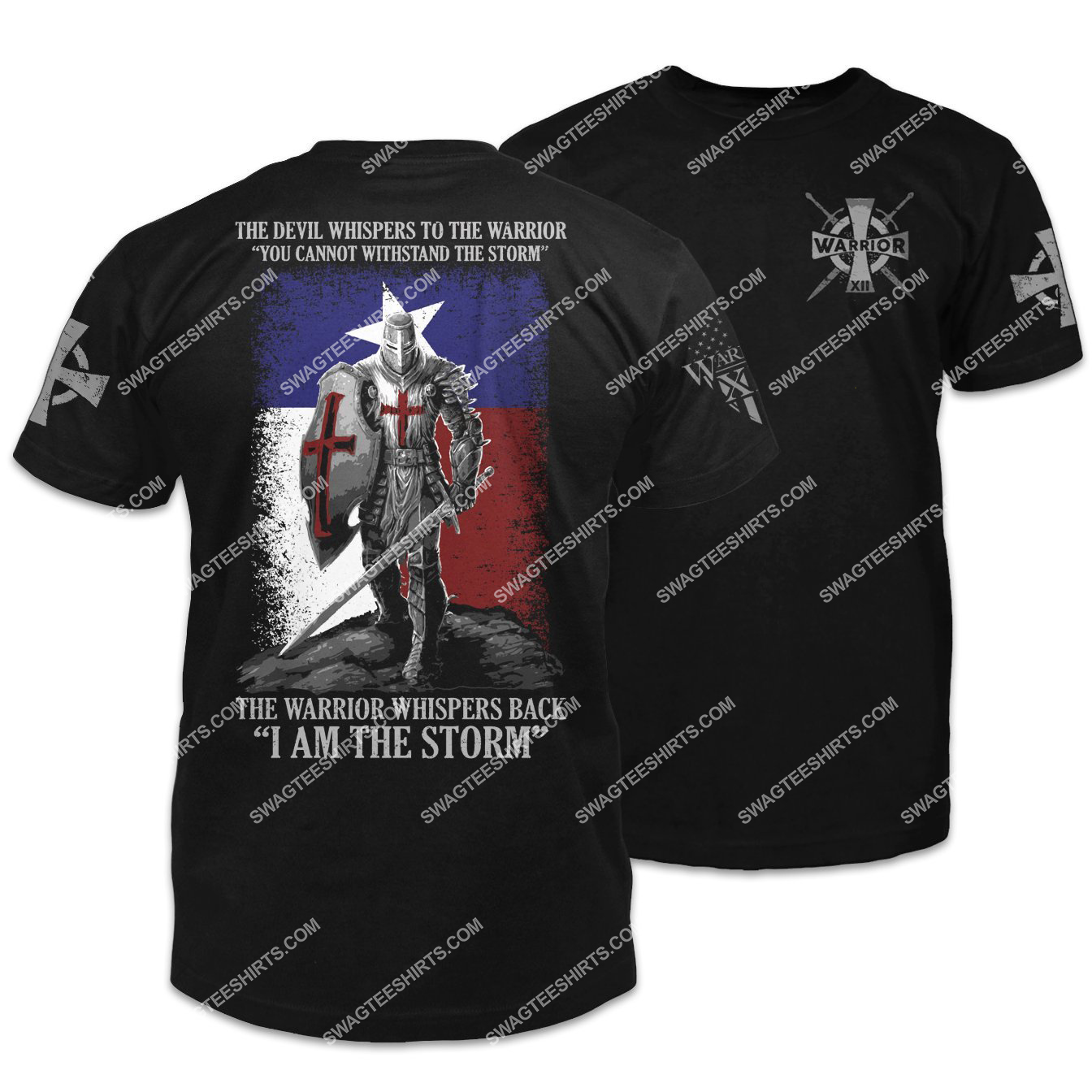 the devil whispers to the warrior you cannot withstand the storm knights templar shirt 1 - Copy
