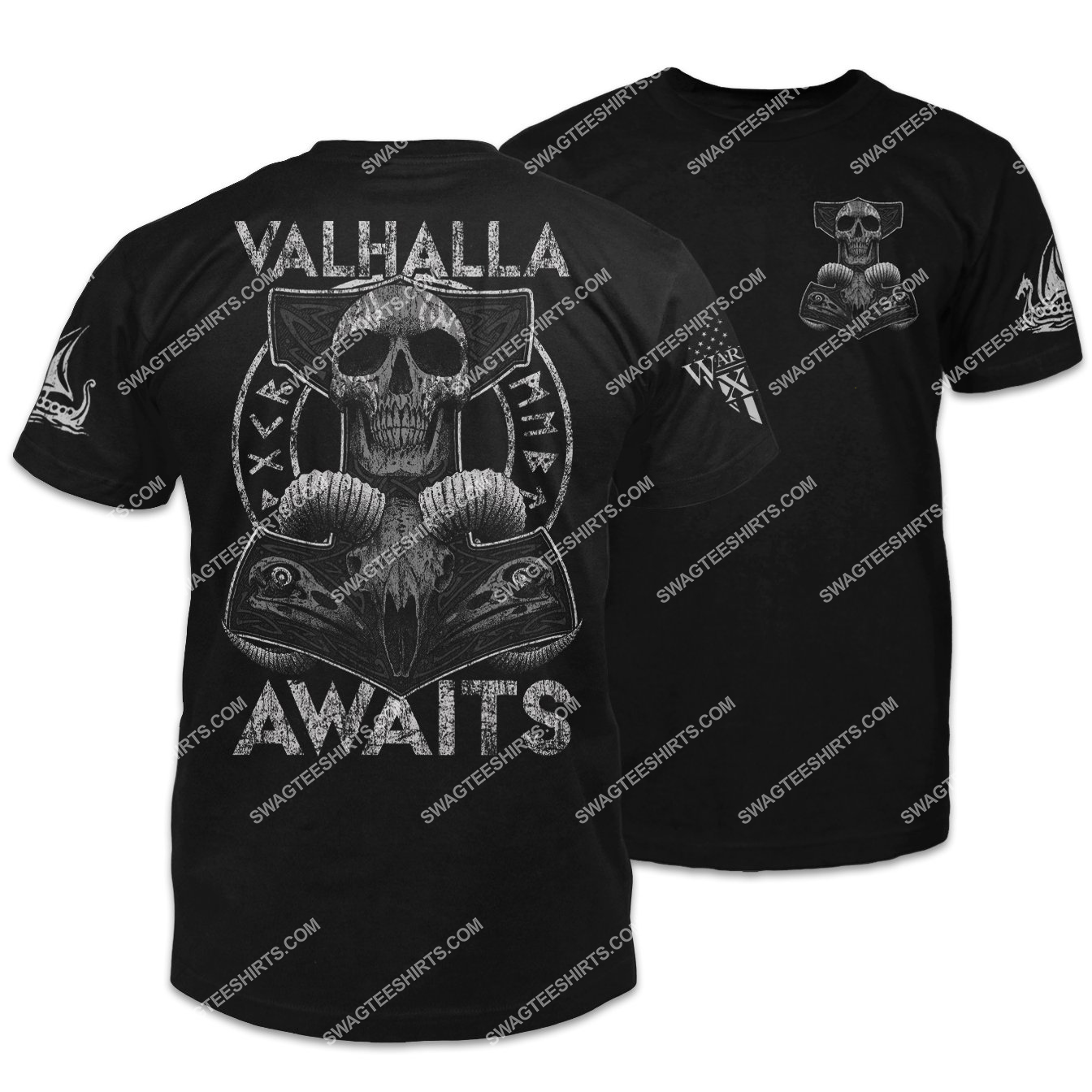 valhalla awaits thor's hammer skull viking shirt 1