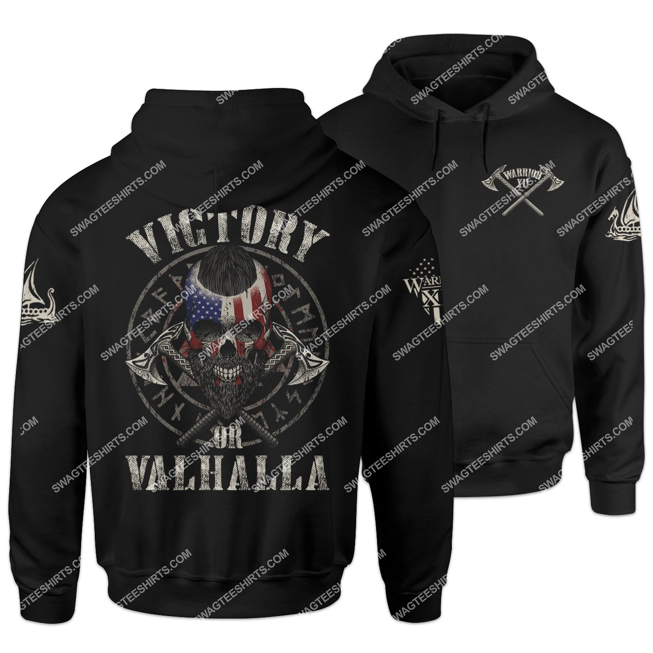victory or valhalla viking skull american flag shirt 1