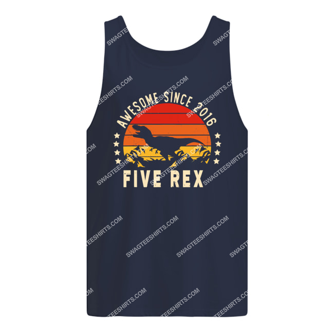vintage awesome since 2016 dinosaur birthday gift 5 year old tank top 1