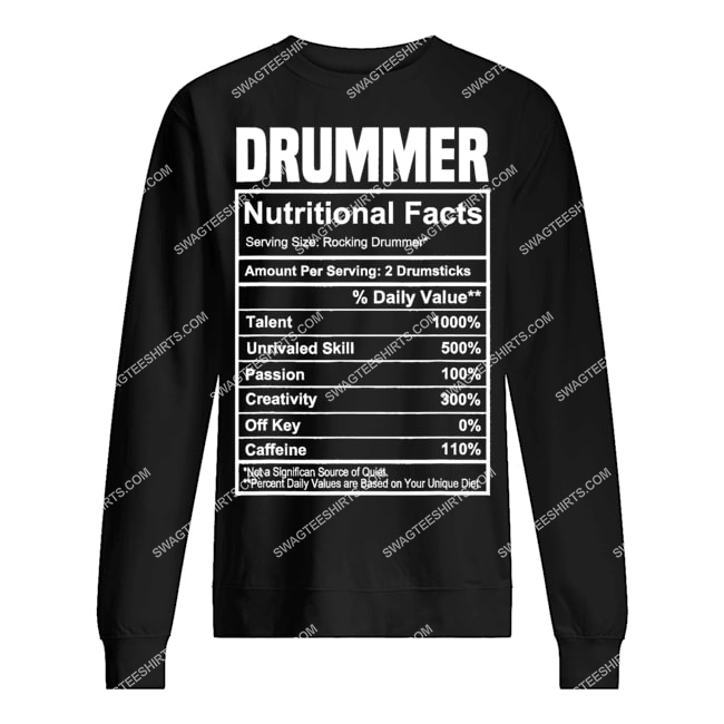 vintage drummer nutrition facts gifts father's day sweatshirt 1