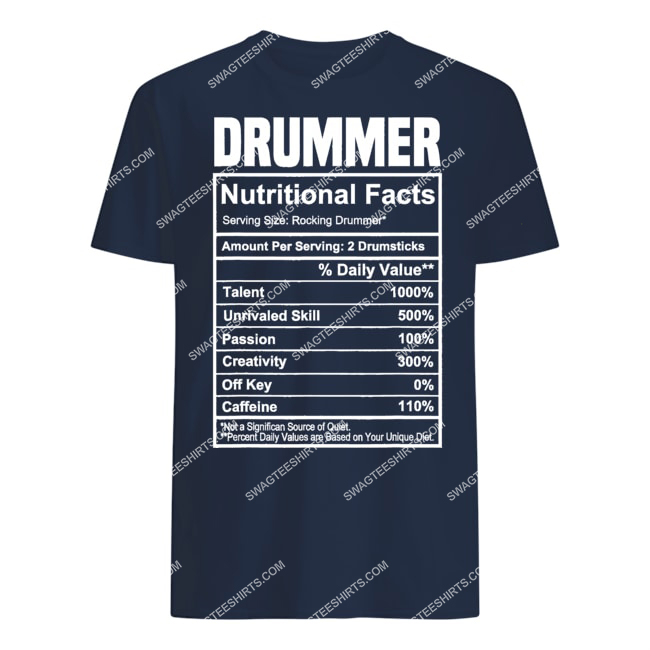 vintage drummer nutrition facts gifts father's day tshirt 1