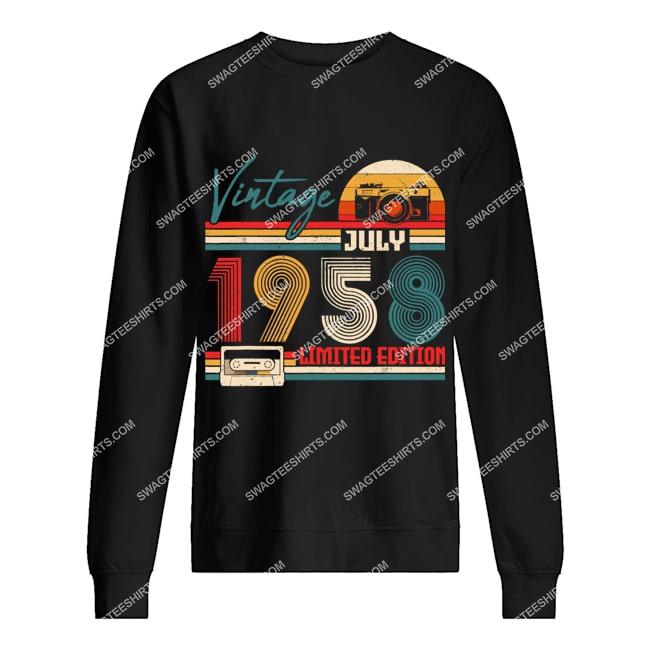 vintage july 1958 limited edition 63rd birthday gift sweatshirt 1