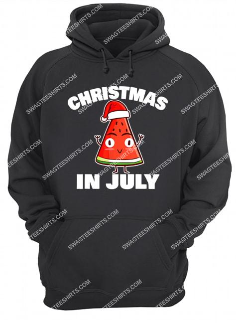 watermelon christmas in july christmas tree summer christmas hoodie 1