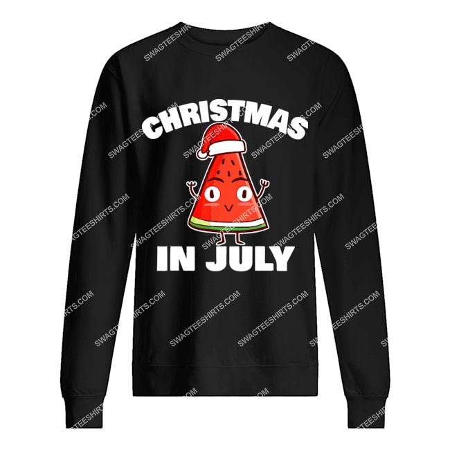 watermelon christmas in july christmas tree summer christmas sweatshirt 1