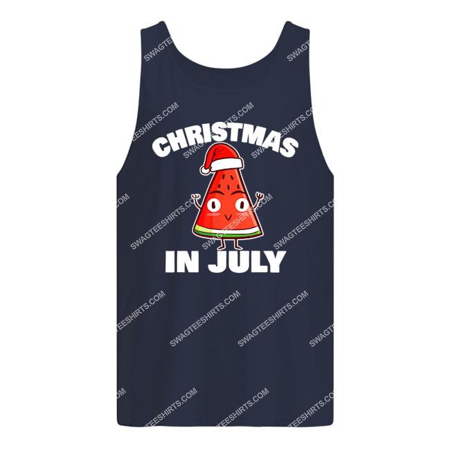 watermelon christmas in july christmas tree summer christmas tank top 1